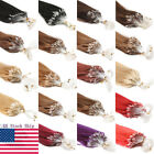 DIY Easy Loop Micro Ring Beads Tip Remy Human Hair Extensions Straight US Ship