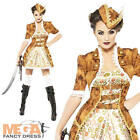 Steam Punk Pirate Ladies Halloween Fancy Dress Costume Outfit + Hat UK 8-18 New