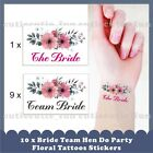 10 x Team Bride Bridal Hen Do Party Floral Wedding Temporary Tattoos Stickers A