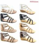 Women's Summer Low Wedge Flat Heel Ankle Strap Open Toe Sandal Shoes Size 5 - 10