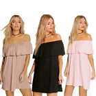 Women Girl Off-Shoulder Falbala Top Chocker Short Dress Loose Casual Mini Dress