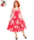 HEARTS and ROSES H&R LONDON 50s style WHITE REGAL LILY floral DRESS RED