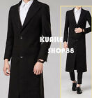 Mens Black Parka Wool Windproof Long Slim Fit Trench Coat Business Formal Jacket