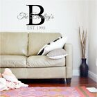Family Name & Initial Monogram Fancy Wall Sticker Vinyl Decals Lettering