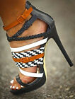 hot sale women's open toe strappy buckle sandals mixed color high heel shoes