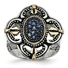 Stainless Steel Blue Glass with Yellow IP-plated Accent Antiqued Ring