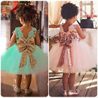 Kids Baby Girls Lace Bow Sequins Tulle Tutu Dress Princess Party Wedding Gown