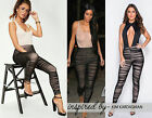 Womens Ladies Celeb Inspired Ruched Mesh Insert Full Length Stretch Legging 8-14