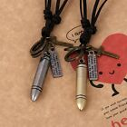 New Men Vintage Bullet Cross Ring Pendant Leather Necklace Jewelry Adjustable CG