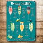 Mini cocktail metal sign for home bar kitchen recipes prosecco whisky gin