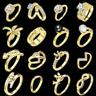 16 Style Charm Women Jewelry 18K Gold Plated Zircon Wedding Ring Size 5 6 7 8 9
