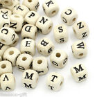 Wholesale Lots HX Natural Mixed A-Z Alphabet/ Letter Cube Wood Beads 10x10mm