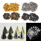 100x 10mm Metal Spots Cone Screw Metal Studs Leathercraft Rivet Bullet Spikes
