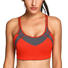 Women's High Impact Mesh Wireless Padded Cup X-back Gym Active Sports Bra