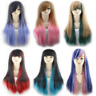 Long Mixed Gradient Color Straight Synthetic Hair Cosplay Party Full Wig 65-70cm