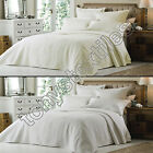 LUXURY EMBROIDERED IVORY WHITE QUILTED BEDSPREAD BED  QUILT THROW COVER NEW