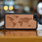 The world map carved Natural Wood Phone Case for iPhone7/7plus/6/6s/6plus/6sp