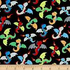 FIRE BREATHING DRAGONS KIDS NOVELTY CRAFT SEWING FABRIC QUILT FREE OZ POST *