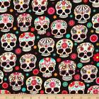 SUGAR SKULLS FLORAL PUNK NOVELTY CRAFT SEWING FABRIC QUILT FREE OZ POST *