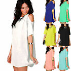 Womens Summer Plus Size Chiffon Baggy Tee Shirts Tops Blouse Shirts Dress S-XXXL