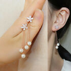 925silver  Lady crystal CZ flower pearl front back drop Earring double sided