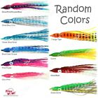 "Fish WOW! 8"" Fishing Squid Skirt Hoochies Octopus Trolling Soft Lure Crinkle lot"