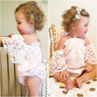 Infant Baby Girl Flower Lace Romper Bodysuit Sunsuit Jumpsuit Outfit Set Clothes