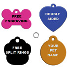 Personalised Engraved Dog Cat Pet Tags Bone Paw Heart Star Red Blue Pink Black