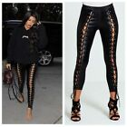 DIVADAMES Womens Black Faux Leather All Through Lace Up Leggings-3006-9