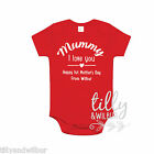Personalised Mummy I Love You Happy 1st Mother's Day Organic Baby Bodysuit