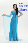 Frozen Elsa Adult Ladies Dress Fancy Dress  Party Gown blue wig Diamonte UK