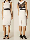 New Karen Millen cream nude black lace tailored dress UK 10 16 US 6 12 DZ179