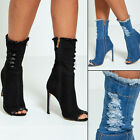 DIVADAMES Womens Fiona Peep Toe Distressed Ankle Denim Boots -NF446