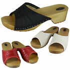 New Women Orthopedic Mule Nurse Wooden Clogs Leather Sandals Size 3-8