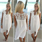 US Summer Women's Bohemia Sleeveless Chiffon Beach Dress Casual Lace Dress Soft