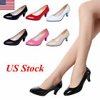 US WOMENS LADIES LOW MID HIGH HEEL POINTED TOE PUMPS SMART WORK COURT SHOES SIZE