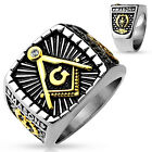 IP Gold And Burnish Steel 2-Tone Square Face Masonic Stainless Steel Ring M4659