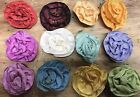 """VINTAGE FRENCH RIBBON FLOWERS 1 3/4"""" Flowers Hand Sewn 1 piece France"""