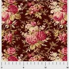 SAVANNAH CLASSIC ROSE MAIN BROWN P&B QUILT SEWING FABRIC *Free Oz Post
