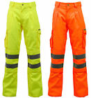 Hi Vis Viz Polycotton Safety Work Trousers Cargo Combat Pants EN471 - Stand Safe