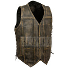 New Men's Distressed Brown Motorcycle REAL Leather Vest