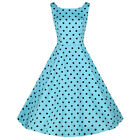 Vintage Blue Polka Dot Pinup Rockabilly Retro Swing Cocktail Summer Party Dress
