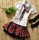 New Japanese School Girl Sailor Uniform Dress Blouses Skirt Cosplay Costume J5S