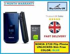 New Condition Nokia 2720 Fold Mobile Phone - Black Blue Red + Warranty