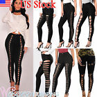 Us Womens High Waisted Legging Pencil Pants Skinny Lace Up Gothic Club Trousers