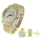 14k Gold Finish Earrings Techno Pave Watch Analog Quartz Simulated Diamond Combo