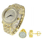 Techno Pave Hip Hop Bling Simulated Diamond Iced Out Watch & Earrings Set 2pc