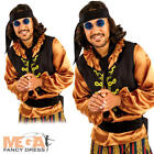 60s Rock Star Mens Fancy Dress Groovy Hippie Hippy 1960s Adults Costume Outfit