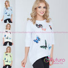 Ladies Smart Look 3/4 Sleeve Top with Butterflies One Size 8 - 14 UK FT2619