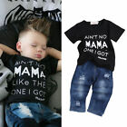 Newborn Toddler Kids Baby Boys Clothes T Shirt Tee Tops+Denim Pants Outfits Set